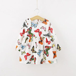 Girl's Butterfly Print Long Sleeve Cotton Dress Clothing My Moppet Shop 4T United States