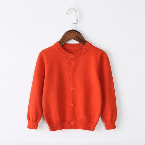 Girls Cardigan Sweater School Uniform - Tangerine Clothing My Moppet Shop Orange 4T United States