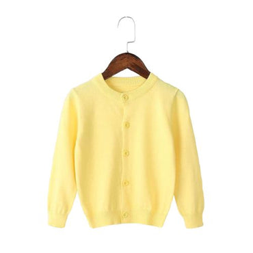 Girls Cardigan Sweater School Uniform - Buttercup Yellow Clothing My Moppet Shop