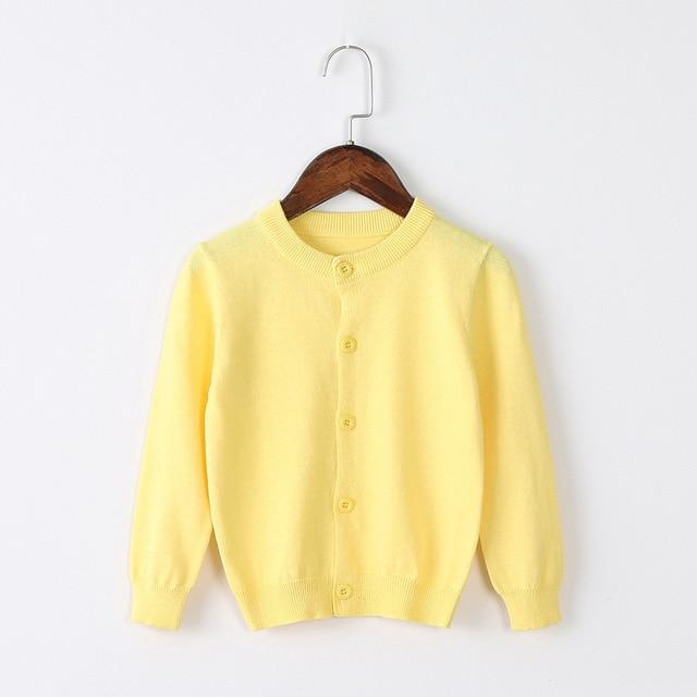 Girls Cardigan Sweater School Uniform - Buttercup Yellow Clothing My Moppet Shop Buttercup 4T United States