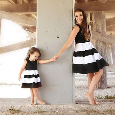 Mommy Me Black and White Striped Dresses Clothing My Moppet Shop