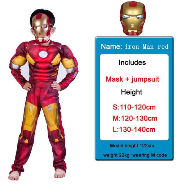 Kids Costumes With Mask and Cloak Clothing MJJ Source Iron man red S