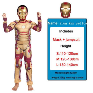 Kids Costumes With Mask and Cloak Clothing MJJ Source Iron man yellow S