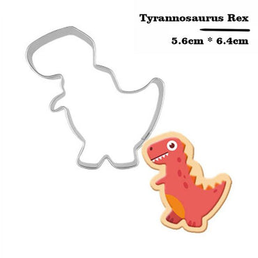 Stainless Steel Dinosaur Cookie Cutter Biscuit Mould Fondant Cake Mold Sugar Craft Set Jurassic 3D Pastry Cookie Cake Baking Tools Accessories My Moppet Shop Dark Khaki