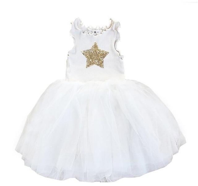 Girls Tutu Dresses White Pink Gray Black Star Clothing MJJ Source White 3T
