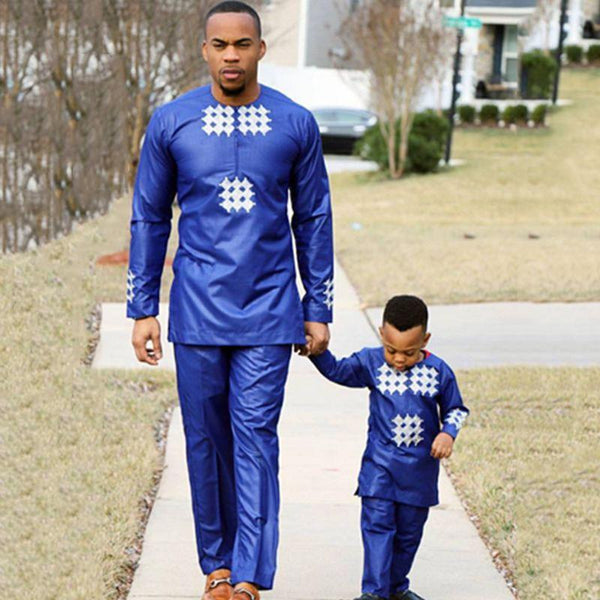 Dad Son Blue African Matching Set 2019 Wedding Man Boy Dashiki Shirt Outfit Top Pants Suit Party Clothes Clothing My Moppet Shop