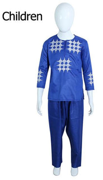 Dad Son Blue African Matching Set 2019 Wedding Man Boy Dashiki Shirt Outfit Top Pants Suit Party Clothes Clothing My Moppet Shop kid royal blue M