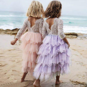 Summer Lace Girl Dress 2019 White Backless Girls Teenage Princess Dress Irregular Tutu 2-8 Years Pink Children Dresses Pink MJJ Source