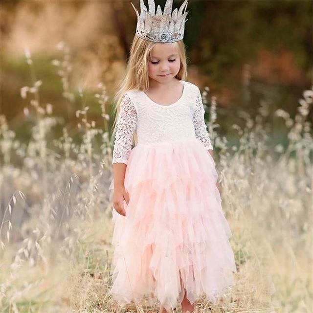 Summer Lace Girl Dress 2019 White Backless Girls Teenage Princess Dress Irregular Tutu 2-8 Years Pink Children Dresses Pink MJJ Source Pink 2T United States