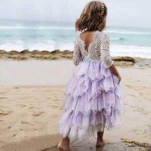 Summer Lace Girl Dress 2019 White Backless Girls Teenage Princess Dress Irregular Tutu 2-8 Years Pink Children Dresses Pink MJJ Source Purple 2T United States
