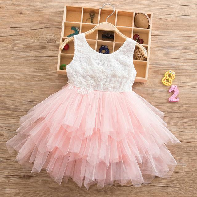 Summer Lace Girl Dress 2019 White Backless Girls Teenage Princess Dress Irregular Tutu 2-8 Years Pink Children Dresses Pink MJJ Source Pink 1 3T United States