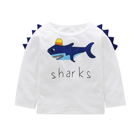 Toddler and Kids Shark Long Sleeve Cotton Blend T-Shirt Clothing MJJ Source