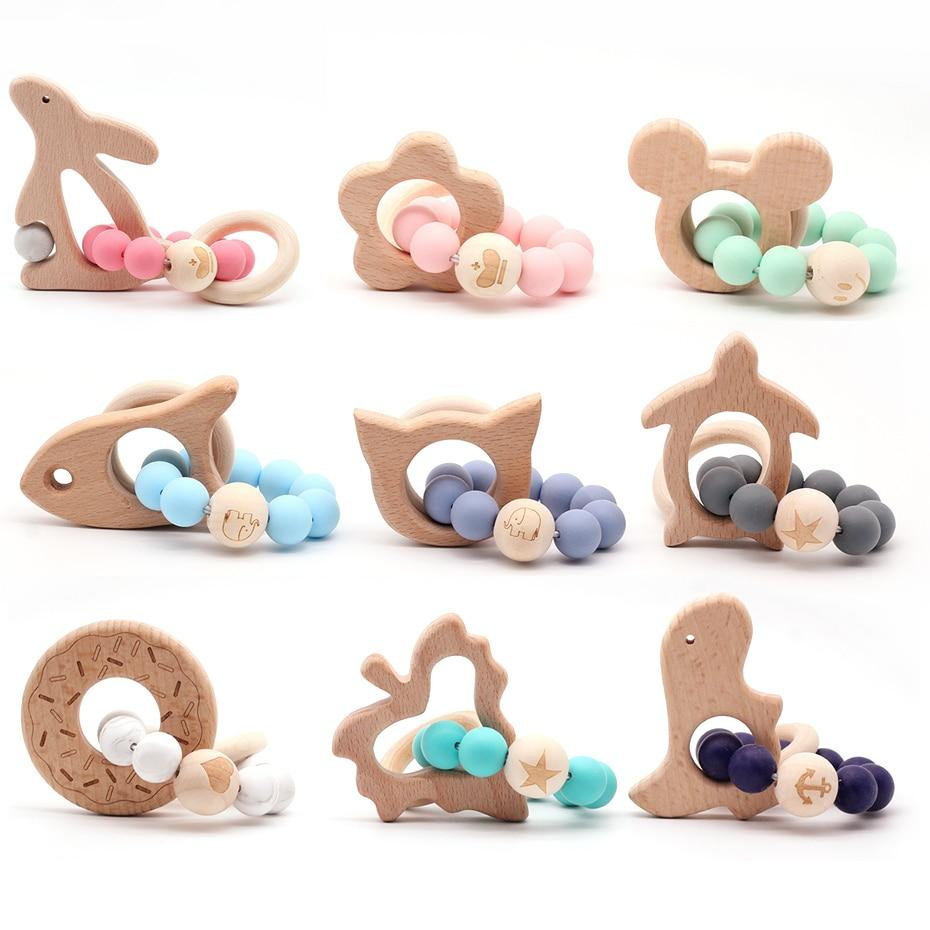 Wooden Teether Baby Bracelet Animal Shaped Jewelry Silicone Beads MJJ Source