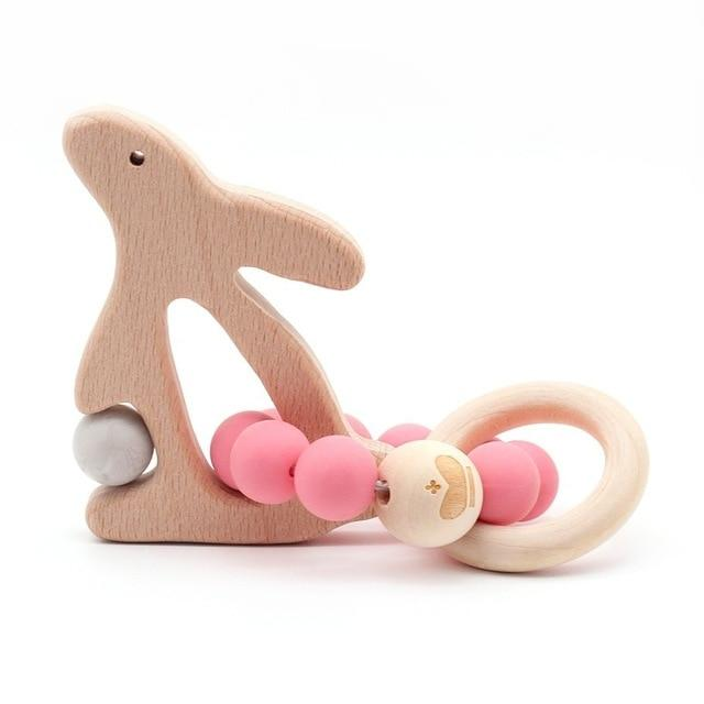 Wooden Teether Baby Bracelet Animal Shaped Jewelry Silicone Beads MJJ Source 01