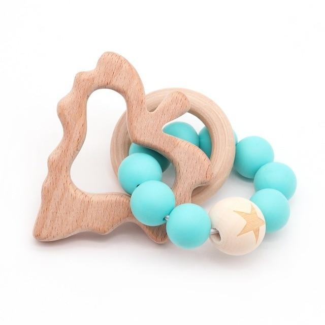 Wooden Teether Baby Bracelet Animal Shaped Jewelry Silicone Beads MJJ Source 06