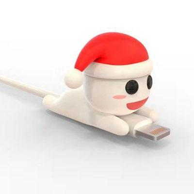 Cable Bite Protector for for Iphone cable Winder Phone holder Accessory chompers hero model funny Accessories My Moppet Shop Santa Snowman