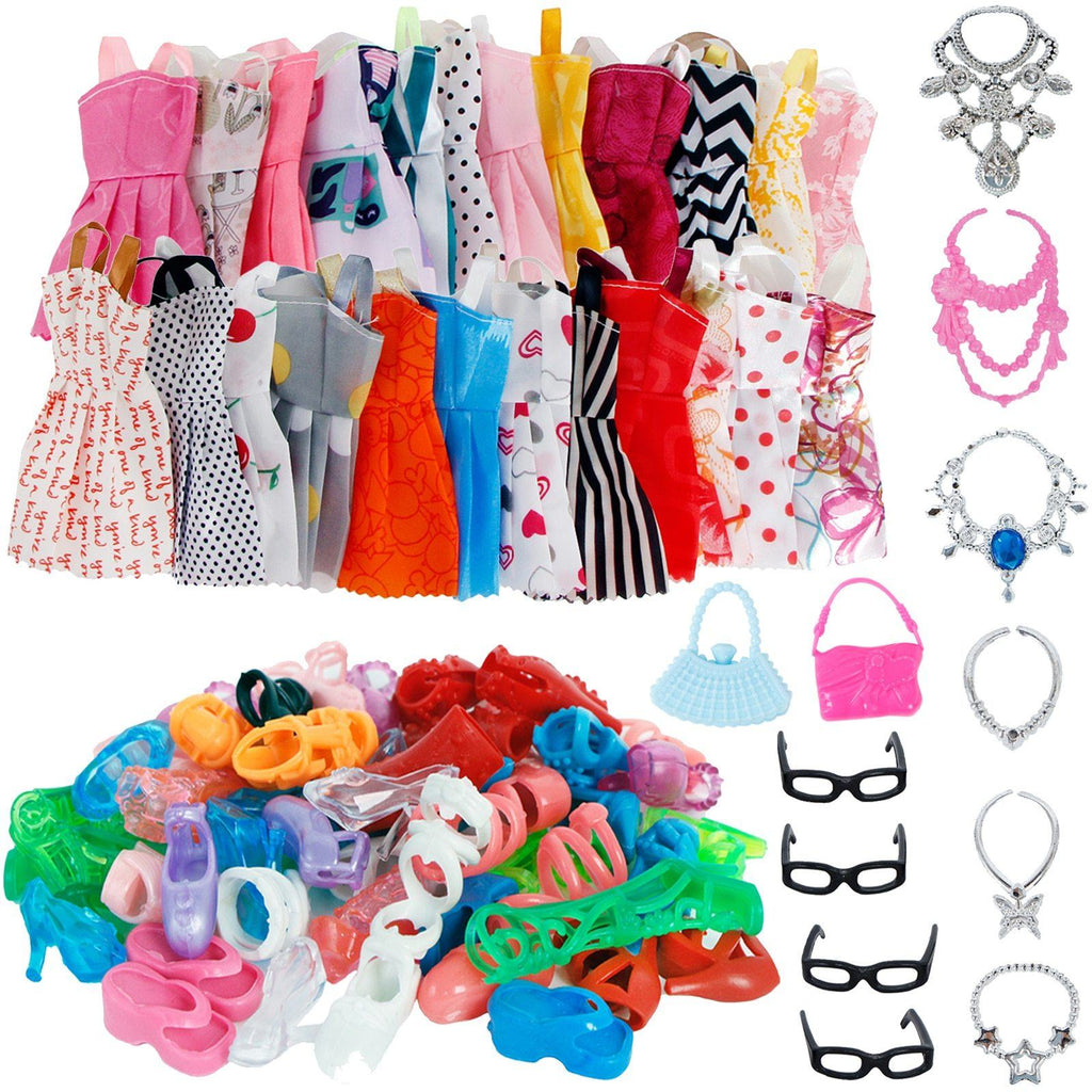 32 Item/Set Doll Accessories=10 Mix Fashion Cute Dress+ 4 Glasses+ 6 Necklaces+2 Handbag+ 10 Shoes Dress Clothes For Barbie Doll Toys MJJ Source