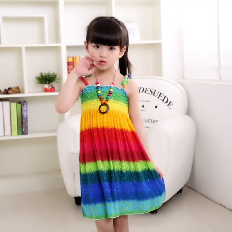 Girls Rainbow Tube Top Dress With Floral Accents and BONUS Necklace Clothing My Moppet Shop