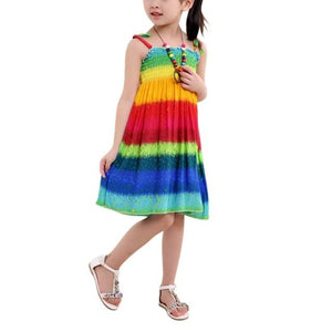 Girls Rainbow Tube Top Dress With Floral Accents and BONUS Necklace Clothing My Moppet Shop C 2T United Kingdom