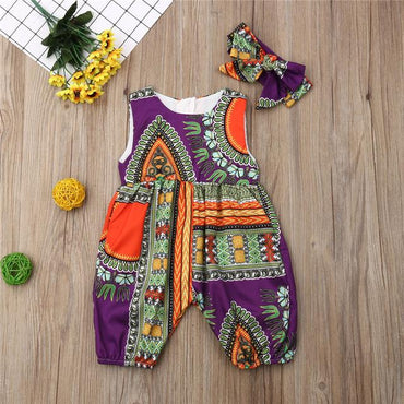 2019 New Style Baby and Toddler Girls African Jumpsuit Clothes Rompers Outfit Clothing My Moppet Shop Purple 6M