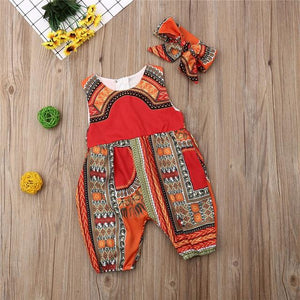 2019 New Style Baby and Toddler Girls African Jumpsuit Clothes Rompers Outfit Clothing My Moppet Shop Red 6M
