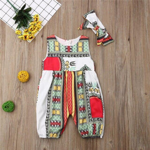 2019 New Style Baby and Toddler Girls African Jumpsuit Clothes Rompers Outfit Clothing My Moppet Shop White 6M