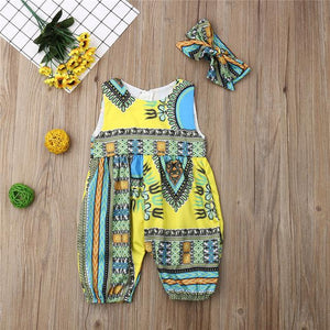 2019 New Style Baby and Toddler Girls African Jumpsuit Clothes Rompers Outfit Clothing My Moppet Shop Yellow 6M
