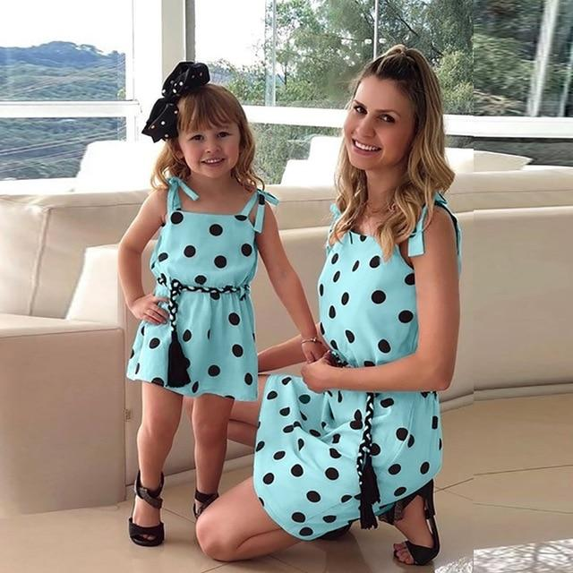 Mommy Me Matching Polka Dot Print Sleeveless Mini Dresses Clothing My Moppet Shop Light blue 100 United States