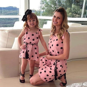 Mommy Me Matching Polka Dot Print Sleeveless Mini Dresses Clothing My Moppet Shop Pink 100 United States