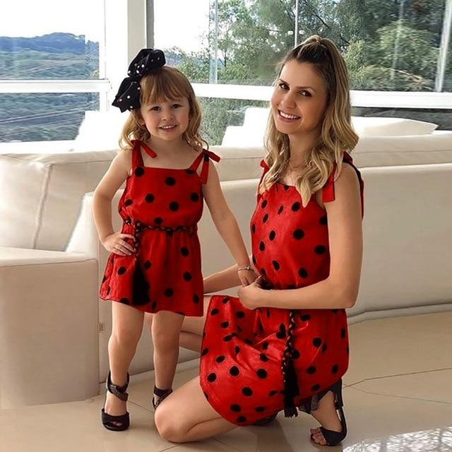 Mommy Me Matching Polka Dot Print Sleeveless Mini Dresses Clothing My Moppet Shop Red 100 United States