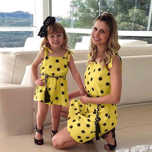 Mommy Me Matching Polka Dot Print Sleeveless Mini Dresses Clothing My Moppet Shop Yellow 100 United States