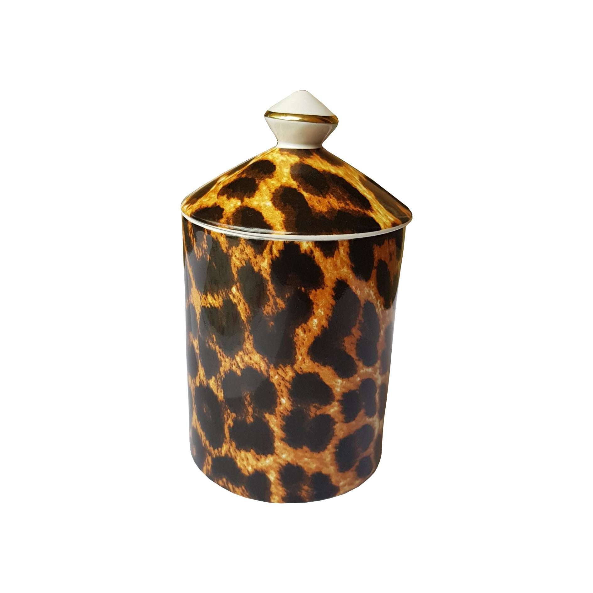 Large Leopard Print Candle with Lid
