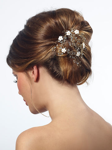 hair comb bride gold with flowers