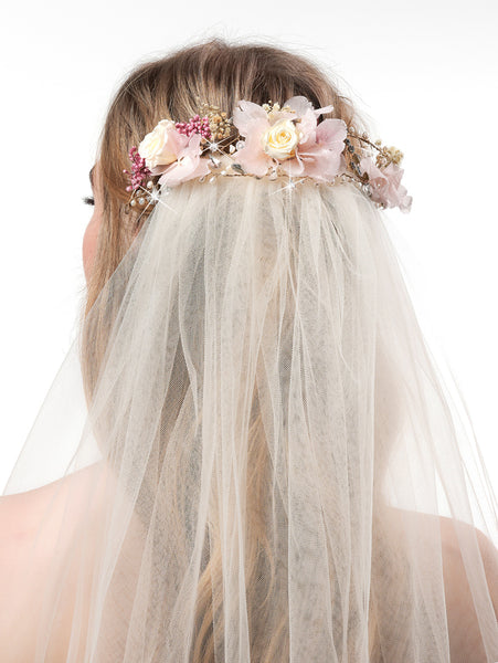floral wreath with veil