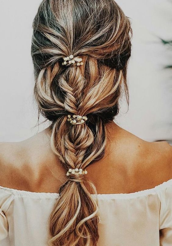bridal hairstyle with braid for 2020