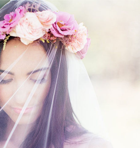 veil with flower wreath