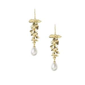GOLD DELICATE ORCHID CHANDELIER EARRINGS