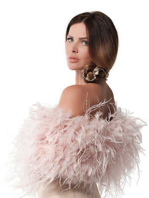 Pink Ostrich Feather Stole BOL-04