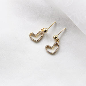 Gold Earrings zirconia heart pendants