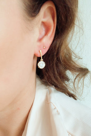 Earrings gold with zirconia pendant