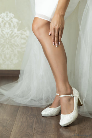 Bridal shoe Alessia with strap on the instep