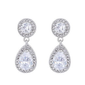 Glittering Earrings of Zirconia
