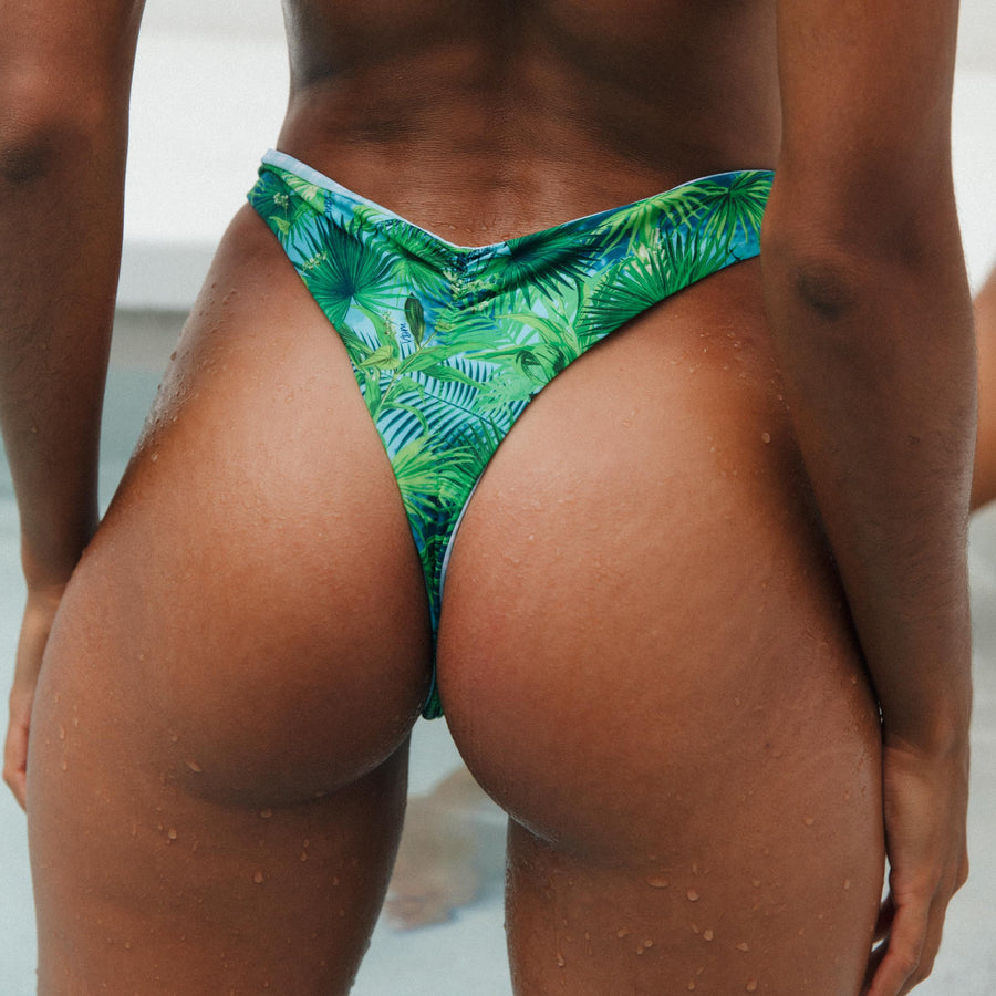 VERA TROPICAL/MINT CHECK REVERSIBLE BIKINI BOTTOMS.