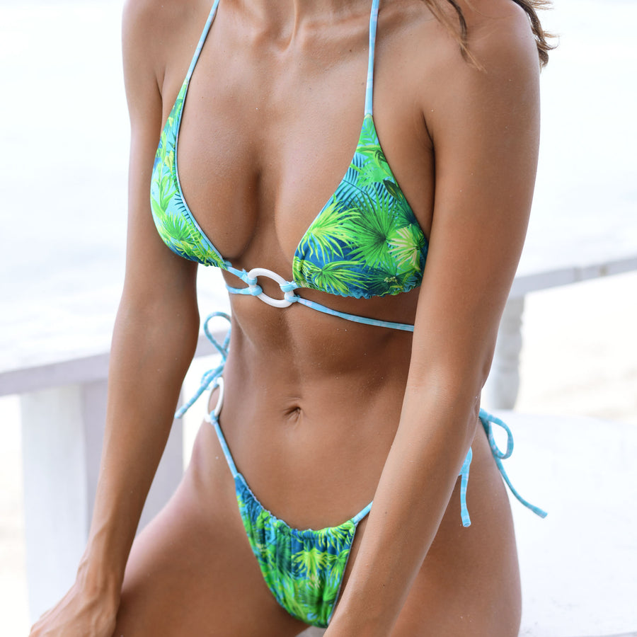ZIGGY TROPICAL/MINT CHECK REVERSIBLE BIKINI BOTTOMS