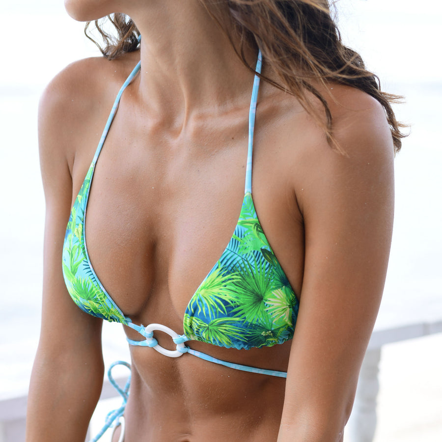 ZIGGY TROPICAL/MINT CHECK REVERISBLE BIKINI TOP