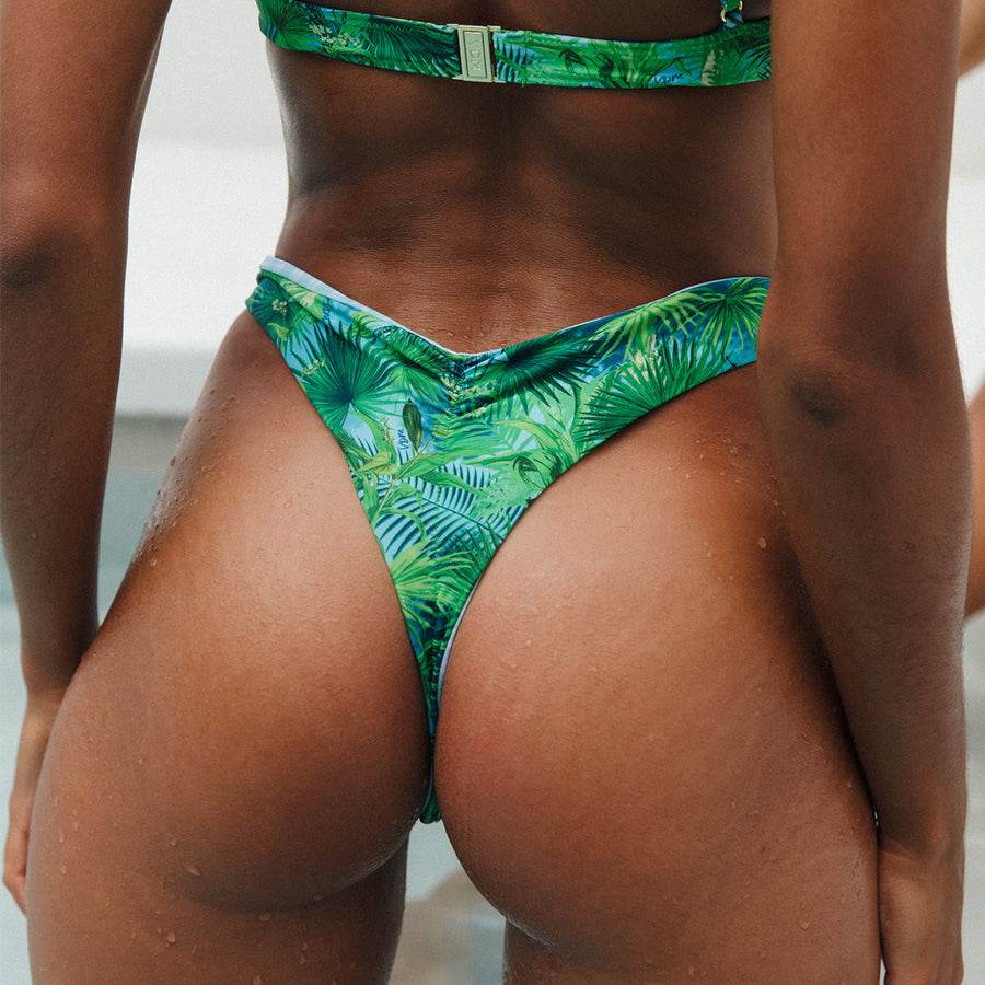 VERA TROPICAL/MINT CHECK REVERSIBLE BIKINI BOTTOMS