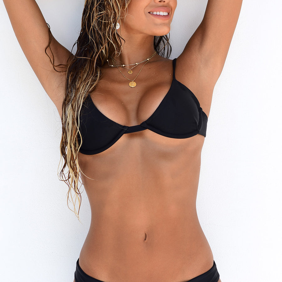 LIVINIA BLACK BIKINI TOP | SIZE S & M - PRE ORDER ONLY | SHIPPING MID JULY