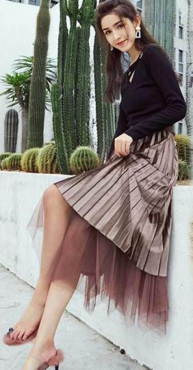Stylish Reversible Velvet Tulle Skirt