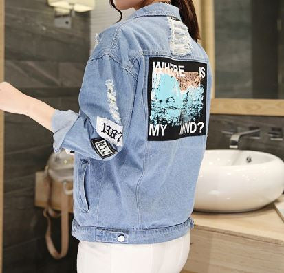 Trendy Denim Bomber Jacket - Back Print