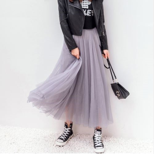 Pleated Long Tulle Skirt